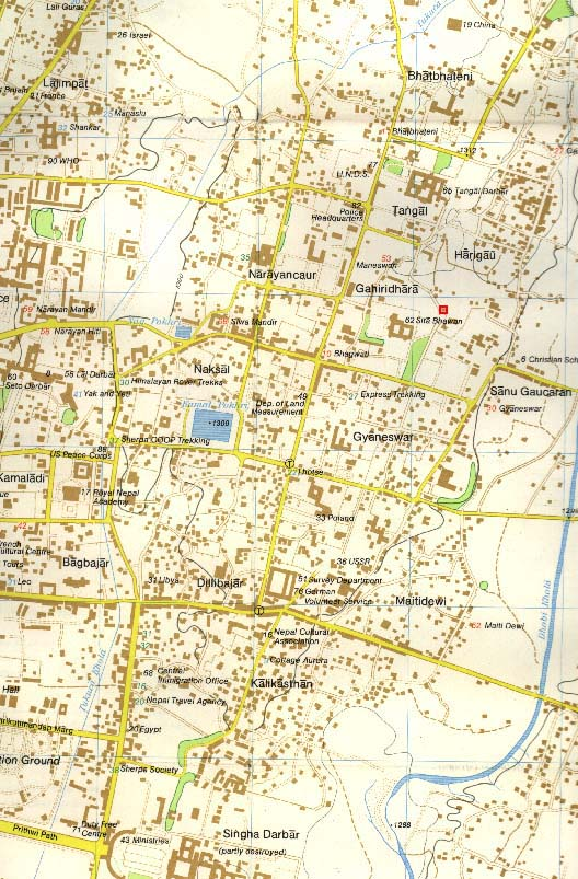 kathmandu nepal map. Map of Eastern Kathmandu