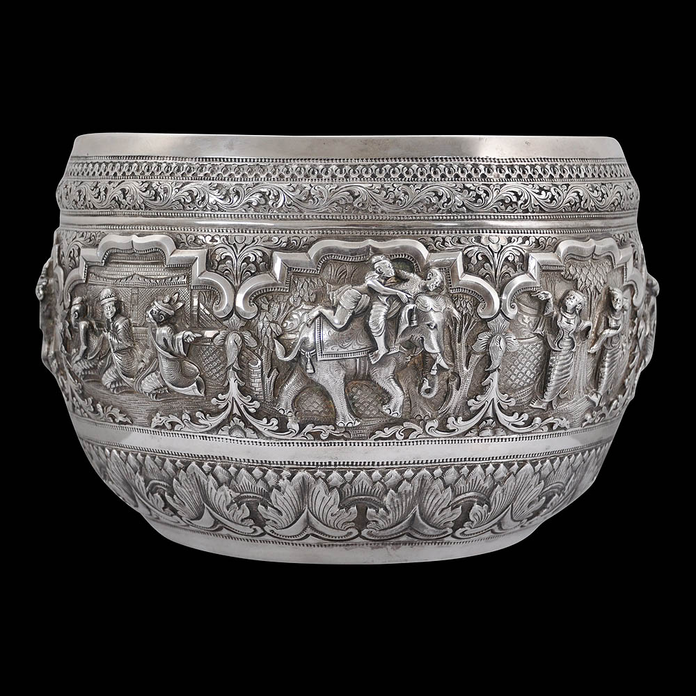 Chased & Repoussed Burmese Silver Bowl (Thabeik)