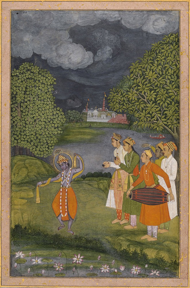 Krishna dances in the rain. Attributed to Afzal 'Ali Khan.