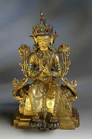 Maitreya, the Buddha of the Future, seated upon his throne in the heavens, awaiting his call to minister on earth.