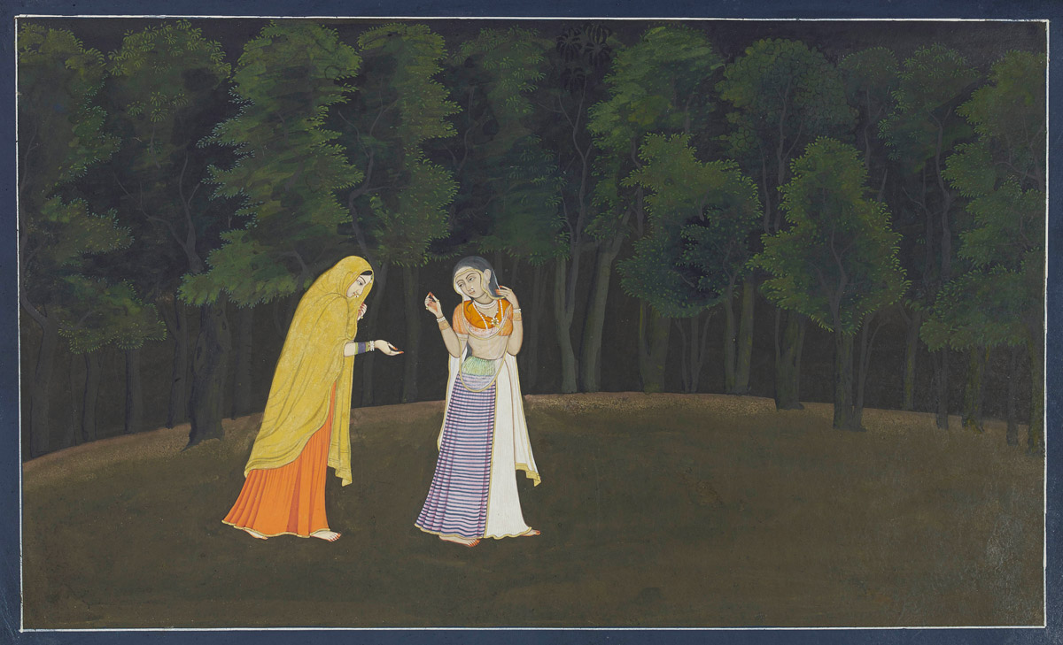 The timid Radha is led towards her first tryst with Krishna