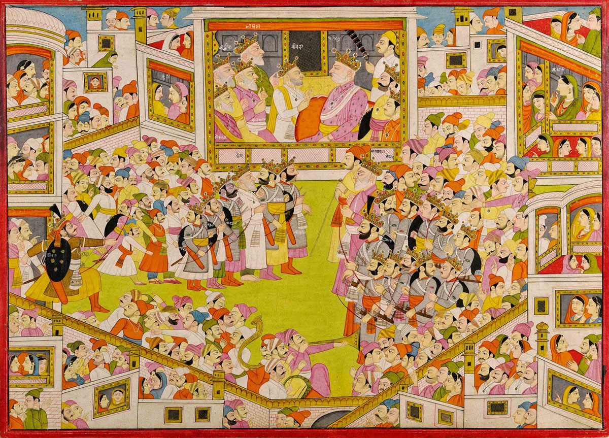 An illustration to a Mahabharata series: Vidura confers with Dhritharashtra