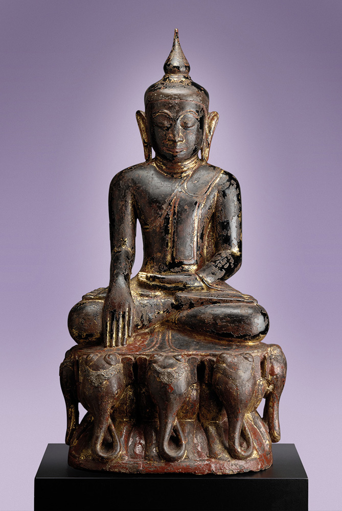Wooden Shan Buddha Seated on Seven Elephants (Burma)