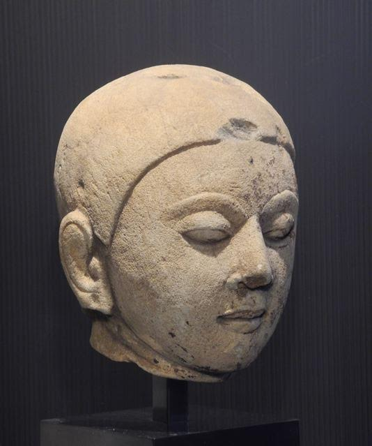 Pyu sandstone head of monk, 7th c