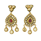 A Pair of Diamond and Enamel Earrings from Hyderabad