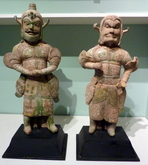 Pair of large rare Liao dynasty guardians