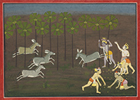 KRISHNA ATTACKED BY DHENUKASURA AS HIS COMPANIONS GATHER FRUIT